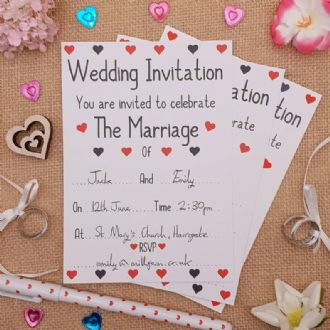 Wedding Invitations - 1 Pack Of 8 - 'You Are Invited To Celebrate The Marriage' - Love Hearts